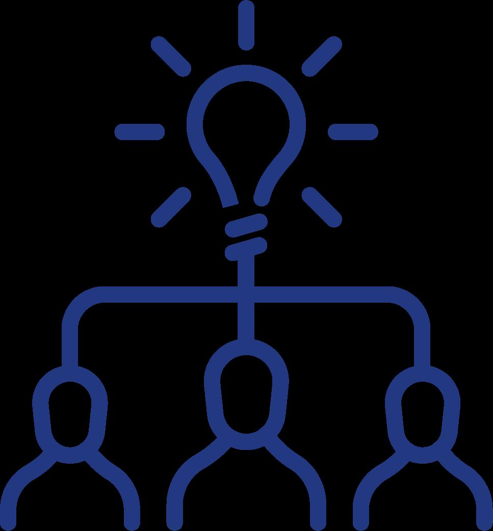 Köpfe mit einer Glühbirne verbunden Icon
