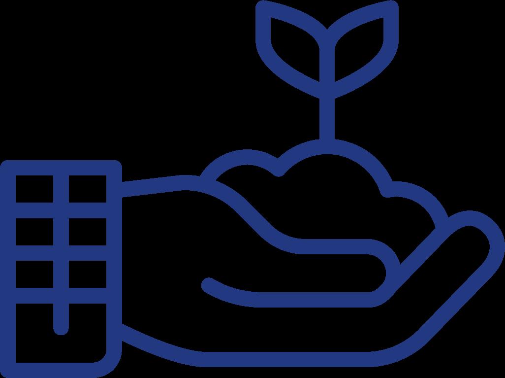 Hand mit Erde und einem sprießendem Blatt Icon